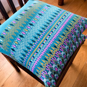 Handmade cushion cover - Thai fabric, teal, pink & yellow