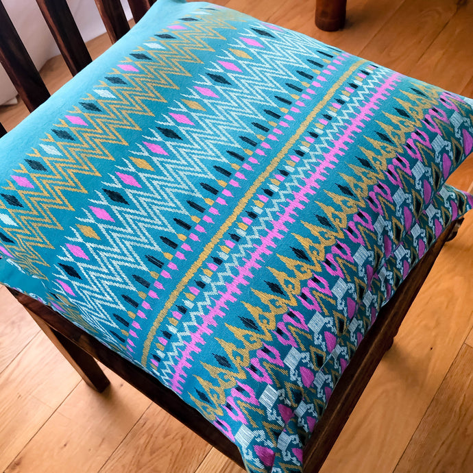 Handmade cushion - Thai fabric, teal, pink & yellow