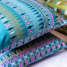 Load image into Gallery viewer, Handmade cushion cover - Thai fabric, teal, pink & yellow