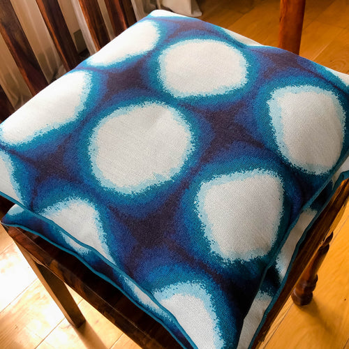 Handmade cushion cover - Blue and grey canvas