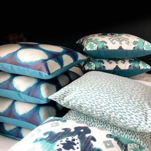 Handmade cushion - teal, navy, grey & white abstract weave cushion -