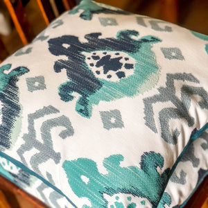 Handmade cushion cover - teal, navy, grey & white abstract weave