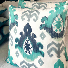 Load image into Gallery viewer, Handmade cushion - teal, navy, grey & white abstract weave