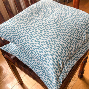 Handmade cushion cover - teal & white dabs pattern
