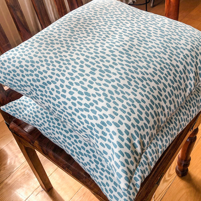 Handmade cushion - teal & white dabs pattern