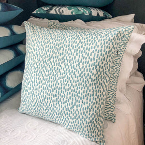 Handmade cushion - teal & white dabs pattern cushion -