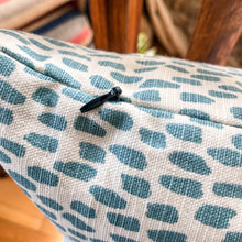 Load image into Gallery viewer, Handmade cushion cover - teal & white dabs pattern