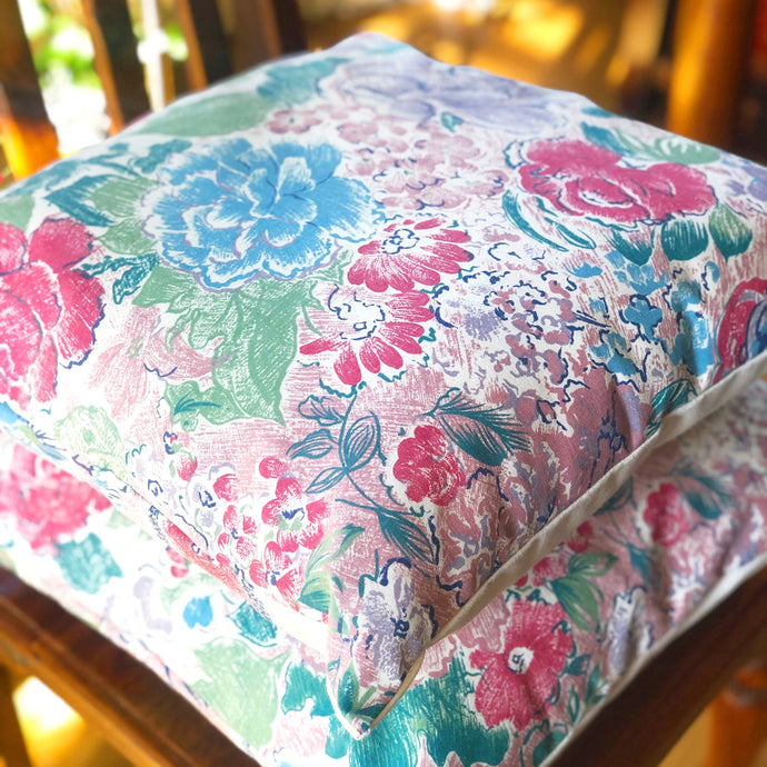 Handmade cushion - crayon effect flowers on heavy cotton cushion -