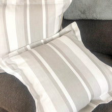 Load image into Gallery viewer, Handmade cushion - Dove grey awning stripe Oxford cushion cushion -