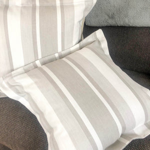 Handmade cushion - Dove grey awning stripe Oxford cushion cushion -
