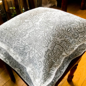 Handmade cushion cover - ash grey brocade Oxford cushion