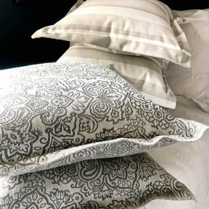 Handmade cushion - ash grey brocade Oxford cushion cushion -