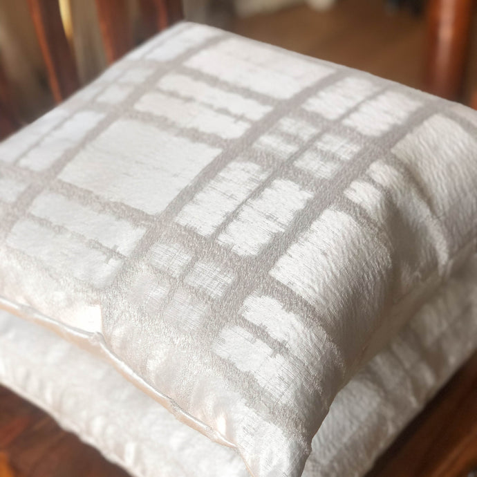 Handmade cushion cover - silver embossed velvet