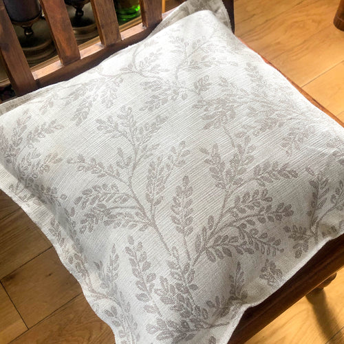Handmade cushion cover - linen grey damask Oxford cushion