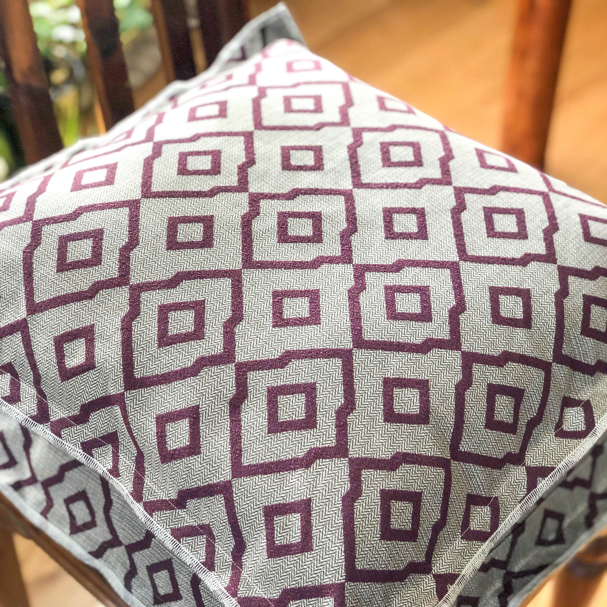 Handmade cushion - plum and grey hexagonal Oxford cushion -