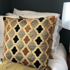 Handmade cushion - gold, black jacquard & velvet cushion -