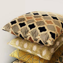 Load image into Gallery viewer, Handmade cushion - gold, black jacquard & velvet cushion -