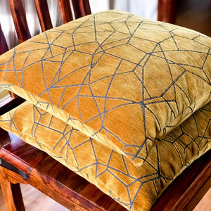 Handmade cushion - faux suede gold & grey cushion -