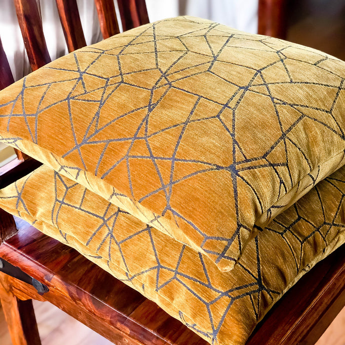 Handmade cushion - faux suede gold & grey