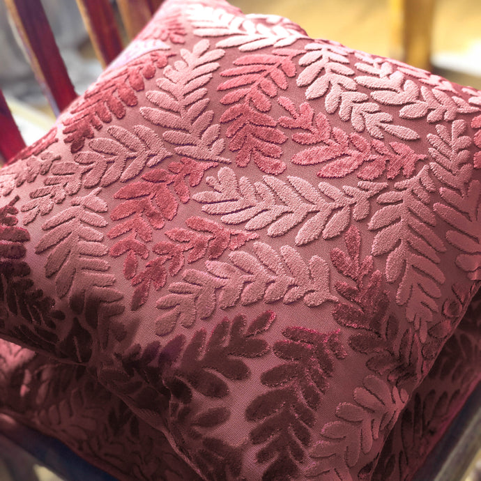 Handmade cushion - burgundy red velvet leaves
