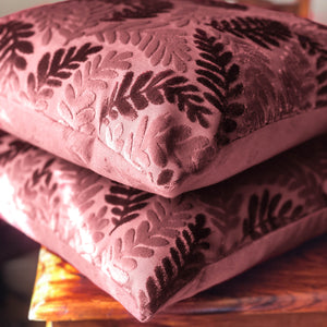 Handmade cushion cover - burgundy red velvet leaves