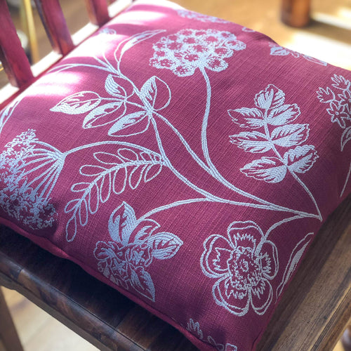 Handmade cushion cover - red silver embroidered