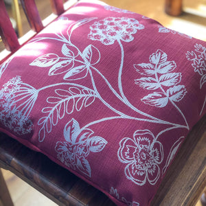 Handmade cushion - red silver embroidered cushion -