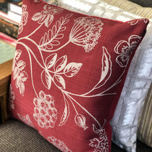 Load image into Gallery viewer, Handmade cushion - red silver embroidered