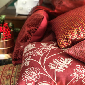 Handmade cushion - red silver embroidered