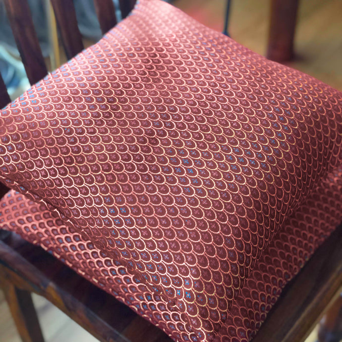 Handmade cushion - rich burgundy red and gold damask cushion -