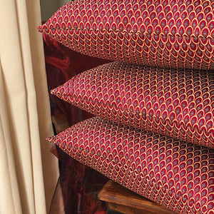 Handmade cushion cover - rich burgundy red and gold damask