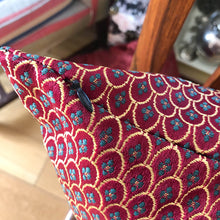 Load image into Gallery viewer, Handmade cushion - rich burgundy red and gold damask
