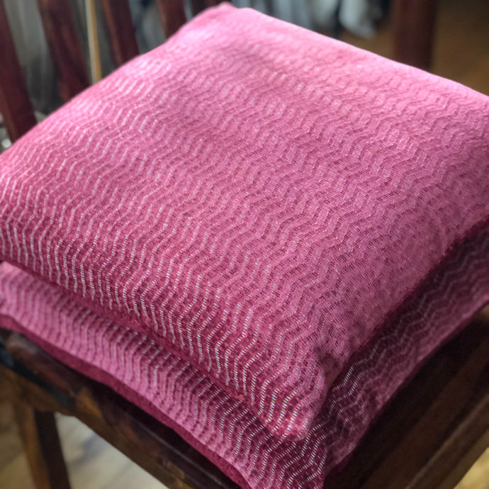 Handmade cushion - heavy woven pink zigzag cushion -