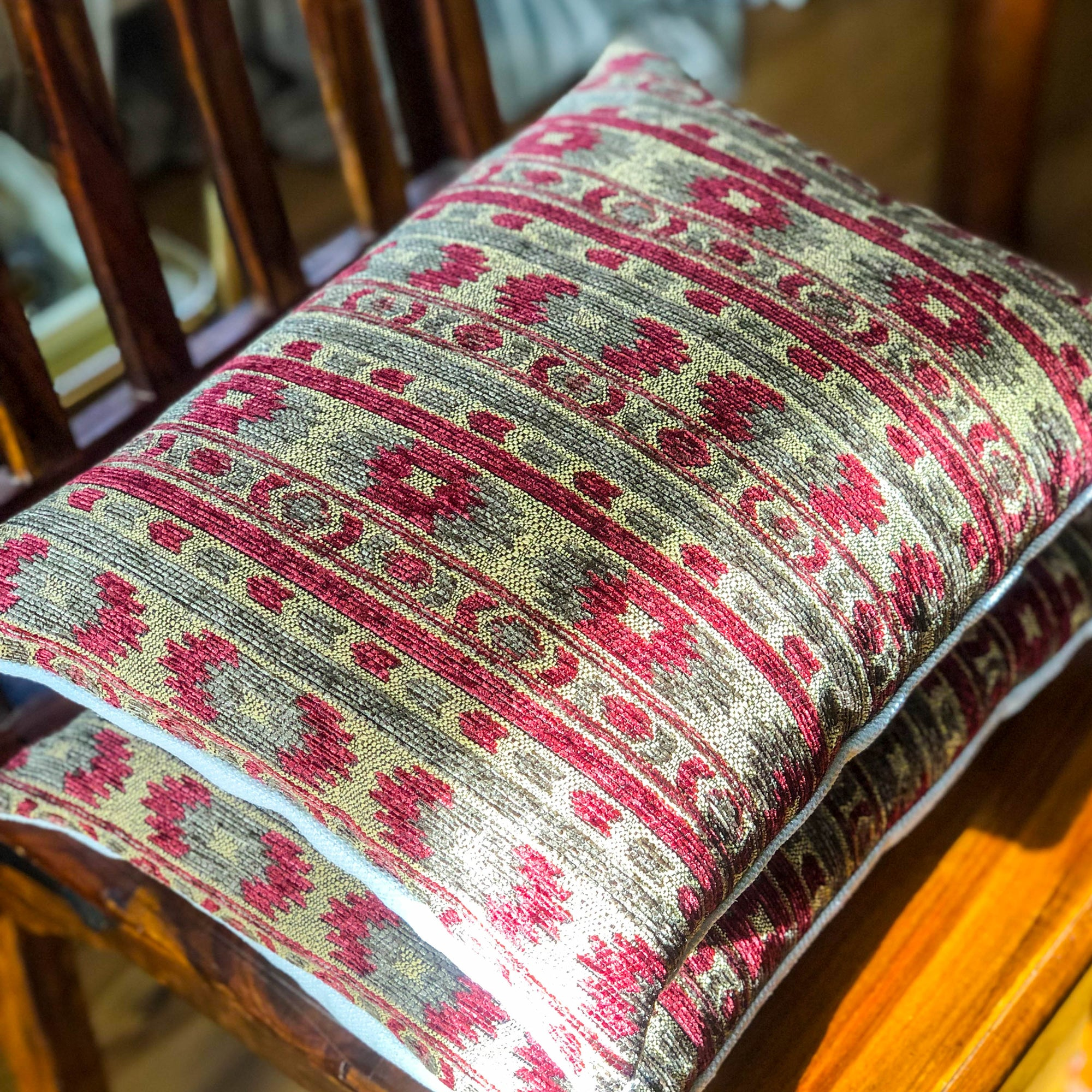 Handmade cushion - heavy tapestry in red and green cushion -