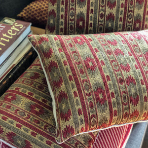 Handmade cushion - heavy tapestry in red and green