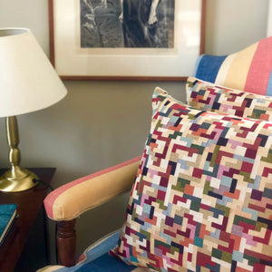 Handmade cushion cover - geometric tetris tapestry