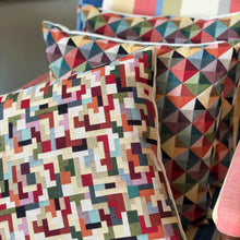 Load image into Gallery viewer, Handmade cushion - geometric tetris tapestry cushion -
