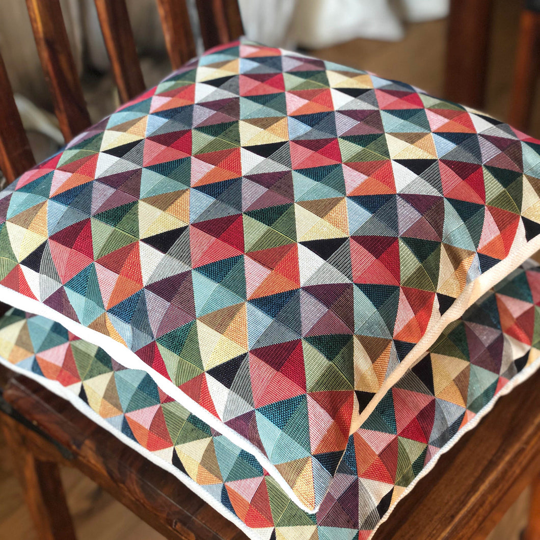 Handmade cushion - geometric tapestry