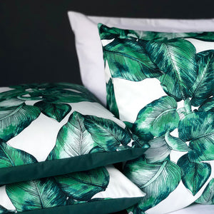 Handmade cushion cover - green and white palm leaves