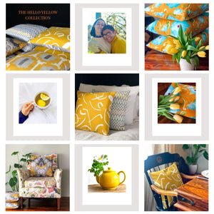 Handmade cushion - bold mustard yellow and white cushion -