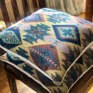 Handmade cushion - elegant blues and gold Aztec tapestry
