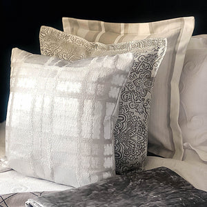 Handmade cushion - silver embossed velvet cushion -