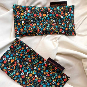 "Cotton Weighted Eye Pillow / Yoga Eye Pillow, ""Noir Meadow"""