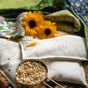 "Inner Bag with Sunflower Seeds Weight Eye Pillow / Yoga Eye Pillow, ""Pine Field"""