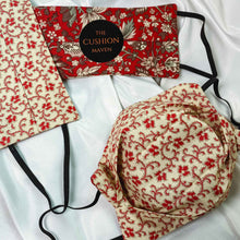 "Load image into Gallery viewer, Reversible & Reusable Liberty of London Cotton Face Mask, ""Ruby Cream"""