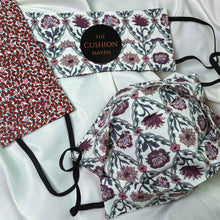 "Load image into Gallery viewer, Reversible & Reusable Liberty of London Cotton Face Mask, ""Trellis Wine"""