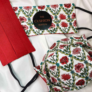"Reversible & Reusable Liberty of London Cotton & Mulberry Silk Face Mask, ""Trellis Red"""