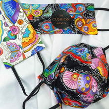 "Load image into Gallery viewer, Reversible & Reusable Cotton Face Mask, ""Madam Butterly"""