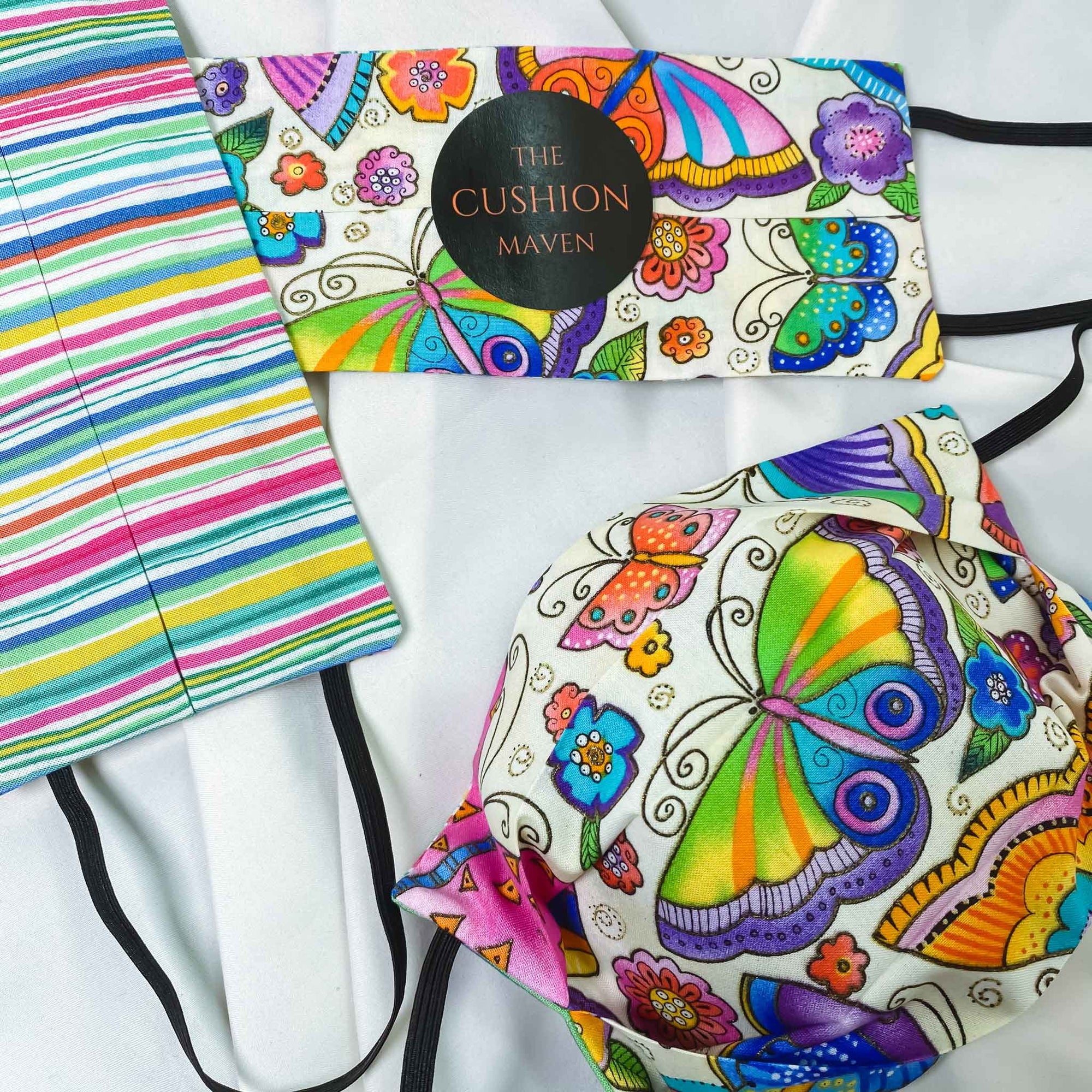 "Reversible & Reusable Cotton Face Mask, ""Butterfly Candy"""