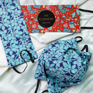 "Reversible & Reusable Liberty of London Cotton Face Mask, ""Festivia Blue"""